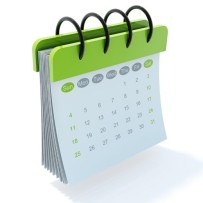 Green calendar icon isolated on white